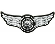 Winged Wheel Small Iron On White Embroidered Patch