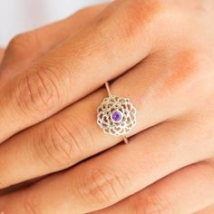 Rainbow Moonstone Ring size 7 34 Moon Stone Blue Flashy Jewellery Witch powerful spiritual silver gothic statement jewelry ceremonial magic