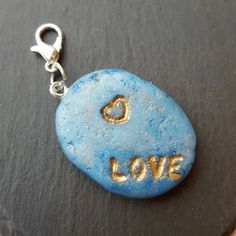 Love word charm, polymer clay charm, blue and gold charm, key chain or bag accessory, valentines gift, girlfriend, boyfriend, best friend by chapelviewcrafts on Etsy