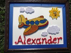 Paper Quilled unique Airplane Baby boy by Iveeartworks on Zibbet