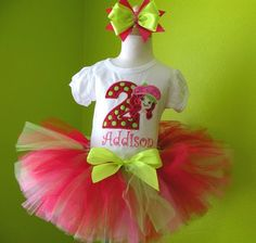 #MC Strawberry Shortcake Birthday Girls Tutu Outfit by PoshBabyStore.com