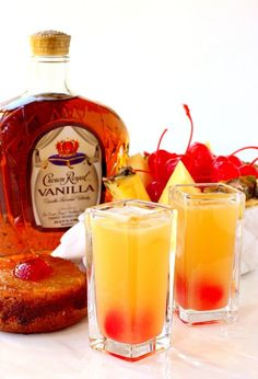 These Pineapple Upside Down Shots taste just like the dessert but in a glass! These Pineapple Upside Down Shots taste just like the dessert but in a glass! Liquor Drinks, Cocktail Drinks, Cocktail Recipes, Beverages, Bourbon Drinks, Fireball Drinks, Drinks With Whiskey, Amaretto Drinks, Whiskey Shots