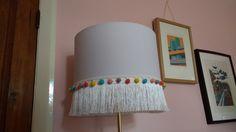 DIY fringing tassel & pom pom lampshade