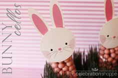 Easter bunny cello bag treats + FREE Easter printables (bunny face and ears)