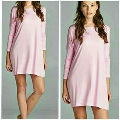 PINK PIKO DRESS New loose fit, long sleeve, round neck piko dress in light pink. Drop shoulder. This dress is made with heavyweight jersey that is soft and drapes beautifully. Available in S/M or M/L ??PRICE IS FINAL 4 Bidden Boutique Dresses Long Sleeve