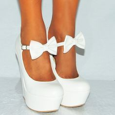 Ladies White Pu faux Leather Bow Ankle Strap Mary Janes Wedged Platforms Wedges High Heels 3-8 UK3