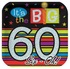 Creative Converting Over The Hill 7 Inch Square Prismatic Paper Plates, The Big 60, 8 Count (Pack of 3) by Creative Converting. $12.02. You'll find consistent high quality and attention to detail in every Creative Converting product. Luncheon plates are 7-inches square. Colorful stripes coordinate with Creative Converting's Birthday Stripe and other Over the Hill party supplies. Package of 8 decorated paper plates read It's the Big 60. Printed on prismatic paper for flas...