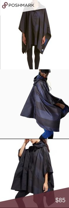 Athleta & Derek Lam Stripe Space Poncho DETAILS  Athleta Color/Pattern: Black And Estate Blue Stripe Design Details: Poncho Sleeves With Zippered Shoulders, Hooded Back, Funnel Neck, Snap Buttons At Sides Snap Placket 100% Polyester Machine Wash Athleta Jackets & Coats Trench Coats