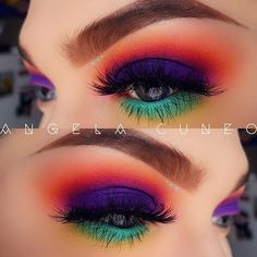 "I really love bright colors. Excuse my other bare eye.  @morphebrushes 35B palette  @nyxcosmetics Mint Julep mascara  @thebalm_cosmetics Mad Lash mascara  @anastasiabeverlyhills Dip Brow ""Medium Brown""/ Brow Powder duo ""Dark Brown""/ Clear Brow gel  @amazingcosmetics Amazing Concealer ""Light Honey""  @eylureofficial @vegas_nay ""Grand Glamor"" lashes"