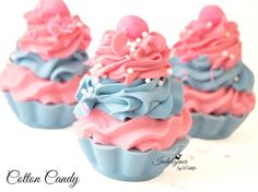 Cotton Candy Handmade Artisan Soap Cupcake by svsoaps on Etsy, $8.50