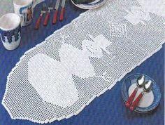Free Crochet Pattern ~ Snowman   Table Runner