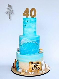 Hand painted beach themed cake - Cake by Color Drama Cakes 40th Cake, 40th Birthday Cakes, 40th Birthday Parties, Birthday Cookies, 7th Birthday, 18th Birthday Cake Designs, Surfboard Cake, Beach Themed Cakes, Sea Cakes