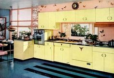 Home Decor Of The 1950's - kitchen was considered the heart of the home.  Decorated in pastel colours.