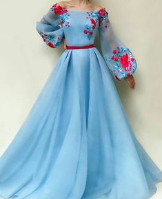 blue party dress long sleeve evening dress tulle applique prom dress off shoulder ball gown - 2020 New Prom Dresses Fashion - Fashion Of The Year Pretty Dresses, Beautiful Dresses, Blue Party Dress, Evening Dresses With Sleeves, Evening Gowns, Elegantes Outfit, Dress Shapes, Designer Dresses, Ball Gowns