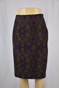Briggs Womens Petite 6P Dark Purple Paisley Mid Calf Skirt Lined  #Briggs #StraightPencil