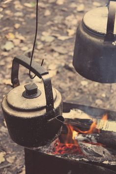 Cooking over the campfire.