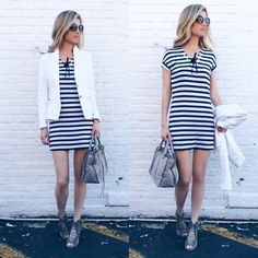 White Blazer & Striped Dress & Grey Leather Tote Bag & Grey Laced Up Booties Trendy Summer Outfits, Cute Spring Outfits, Casual Outfits, Fashion Outfits, Gray Dress, Striped Dress, White Tulle Skirt, Business Fashion, Grey Leather