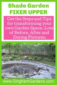 Stop by Gingham Gardens and get all the details of this backyard landscape project, a shade garden makeover. See all the before and after images and get lots of garden makeover ideas. #gardenfixerupper Flower Garden Borders, Flower Garden Plans, Flower Garden Design, Garden Ideas, Best Perennials, Flowers Perennials, Tiered Garden, Garden Makeover, Beautiful Flowers Garden