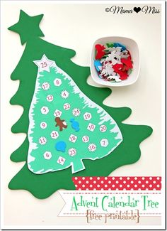 Advent Calendar Tree free printable {mama♥miss} ©2012