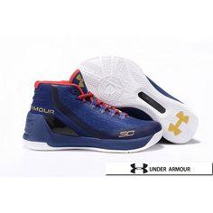 UA Curry 3 - Womens UA Curry 3 Royal Blue Red White Basketball Shoes