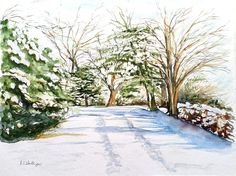 Original watercolor painting of a beautiful snowy lane. A3 size paper. Watercolours, Watercolor Paintings, Multimedia Arts, A3 Size, Gouache, The Originals, Paper, Outdoor, Beautiful
