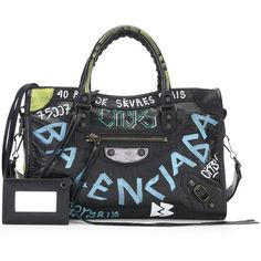 Balenciaga Small Graffiti Classic City Shoulder Bag (7.685 RON) ❤ liked on Polyvore featuring bags, handbags, shoulder bags, genuine leather handbags, leather shoulder bag, genuine leather shoulder bag, shoulder handbags and hand bags
