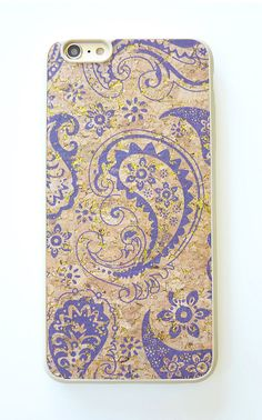New case For Apple Iphone 6 6s Plus 5.5 Purple Violet Paisley handcrafted painted with wood glitter cork handmade DIY TPU snap on hard case slim fit DIY handmade by Yunikuna