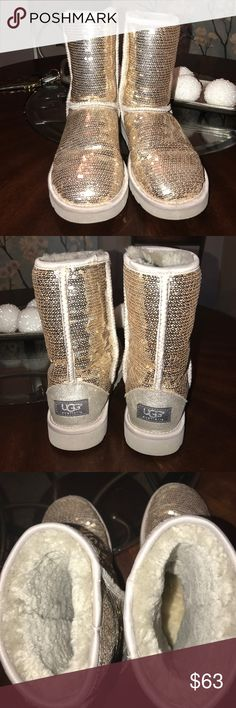 Silver Sequin Uggs Great Condition! UGG Shoes Winter & Rain Boots