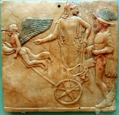 Locri Pinax, Eros Hermes and Aphrodite. Aphrodite and Hermes riding on a chariot pulled by Eros and Psyche, 470 BC (terracotta) Ancient Rome, Ancient Greece, Ancient Art, Greek Paintings, Greek Pantheon, Minoan, Mycenaean, Goddess Of Love, Roman Art