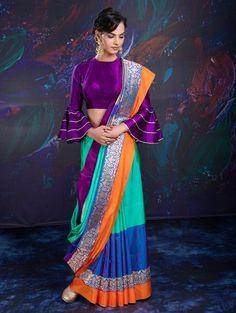 Multi Color Banarasi Silk Saree with Weaving Work