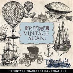Vintage transportation graphics - Far Far Hill - This site has tons of free downloads for scrapbooking!