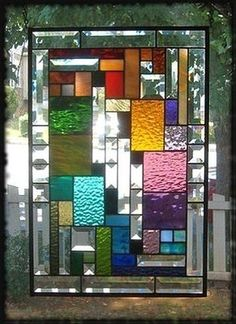 **INTENSELY PRISMATIC** Stained Glass Window Panel(Signed and Dated) | eBay. I really like this one.