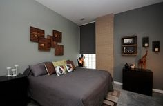 Bedroom : Fascinating Wooden Wall Art Above The Bed Using Ikea Flooring Tiles And Lights Grey Quilt Floral Cushions Black Bedside Table Light Grey Plus Dark Grey Wall Color Modern Rug 50 Astonishingly Elegant Bedrooms With A Different And Attractive Masculine Sensation Cant Wooden Accents. Masculine Men Bedrooms. Bedroom Styles.
