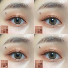 Korean Makeup Tips, Asian Eye Makeup, Korean Makeup Tutorials, Eyeshadow Tutorials, Cute Makeup, Simple Makeup, Lip Makeup, Beauty Makeup, Natural Glowy Makeup