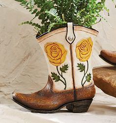 Colorful Cowboy Boot Vases for the Home