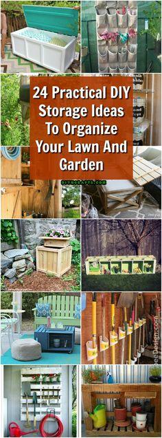 24 Practical DIY Storage Ideas To Organize Your Lawn And Garden #diy #gardening #organizing #ideas via @vanessacrafting