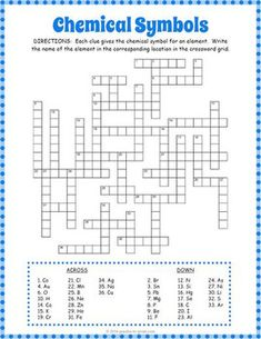 chemical symbols crossword puzzle