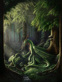 Forest light by ~aaroswings on deviantART Dragon Magical Creatures, Fantasy Creatures, Fantasy Dragon, Fantasy Art, Forest Light, Got Dragons, Dragon's Lair, Ange Demon, Dragon Artwork