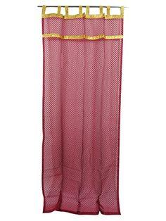 Mogul Interior Sari Curtains Maroon Sheers with Self Weave & Gold Border Drapes Sheer Curtain Panels, Printed Curtains, Window Drapes, Window Coverings, Panel Curtains, Drapery, Indian Curtains, Boho Curtains, Lace Border
