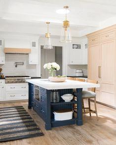 Navy Kitchen, Rustic Kitchen, Kitchen Decor, Blue Kitchen Island, Small Kitchen Islands, Shaker Kitchen, Kitchen Layouts With Island, Kitchen Cabinets With Island, Kitchen Colors
