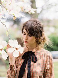 ribbon bow & check shirt, quite cute