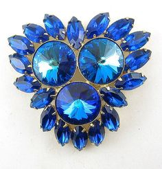 Brilliant 1960's Capri Blue Rivoli 3-Stone by Gatewaytovintage