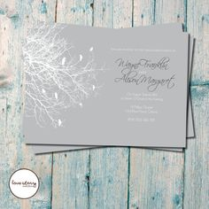 Grey and White Bird Invitation / Engagement Invitation / Garden Wedding / DIY Printable / Printing Available with free envelopes