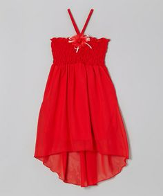 Another great find on #zulily! Red Shirred Halter Dress - Toddler & Girls #zulilyfinds the girls want a hi/low dress or shirt