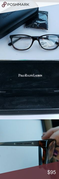 Ralph Lauren Glasses, Case, Cloth 52-16-140, RL6135, TBL-1132  Clear demo lenses are in place, can be worn for fashion or have your prescription lenses put in them, but scuffing is present. Has logo on lens. Ralph Lauren Accessories Glasses