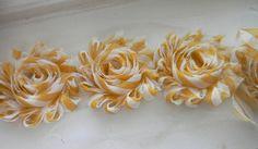 "mustard & Ivory Chevron 2.5"" Shabby Chiffon Flower Rose - flower by the yard trim rose (Sold by the yard) hair accessories DIY Headband"