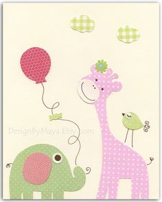 Baby girl nursery, Nursery wall art print, Baby girl room decor, baby elephant ...we love you to the moon and back..light pink light green. $17.00 USD, via Etsy.