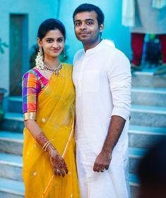 Cuteness overloaded @parinikareddy #thebeautifulcouple #yellow #sari #checks #blouse #simpleyetelegant #delicatefashion #bhargavistudio #bhargavikunam
