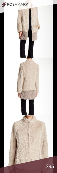 """🆕 Kenneth Cole ivory faux fur coat Mock neck - Long sleeves - Front snap closure - Faux fur construction - Side slit pockets - Approx. 34"""" length - Imported Fiber Content: Faux fur: 100% polyester Fit: this style fits true to size. Brand new with tag. Retail price $168. Kenneth Cole Jackets & Coats"""