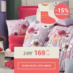 Lenjerie de pat din bumbac Valentini Bianco VKR10 Fly Fleur (-15%)